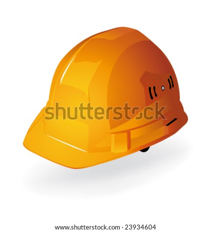 Yellow vector hardhat construction work - stock vector