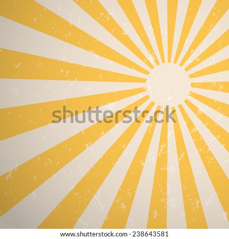 Yellow vintage rising sun or sun ray background design, Vector EPS10. - stock vector