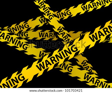 Yellow WARNING lines over black background-vector - stock vector