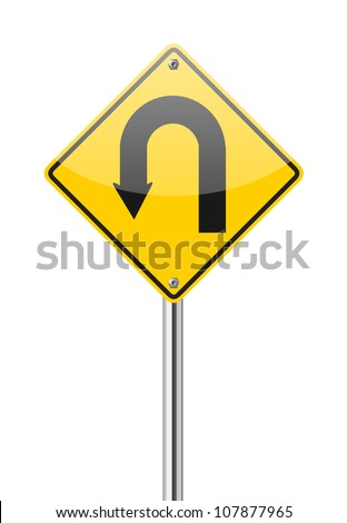 Yellow warning sign u-turn road sign on white background - stock vector