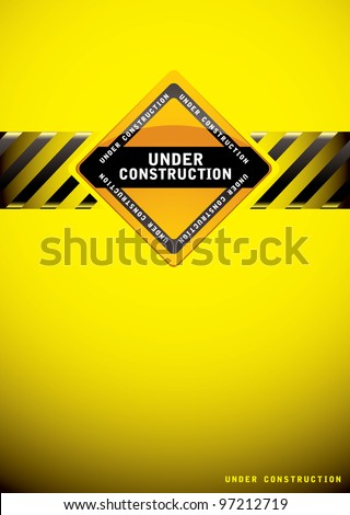 Yellow warning under construction background with sign and hash banner - stock vector