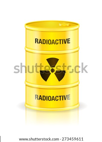 Yellow waste container with radioactive sign vector illustration isolated on white. - stock vector