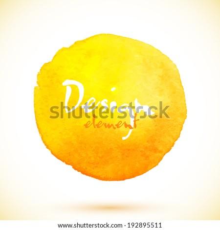 Yellow watercolor circle, vector design element - stock vector