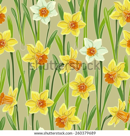 Yellow white jonquil daffodil narcissus seamless pattern, beige background - stock vector