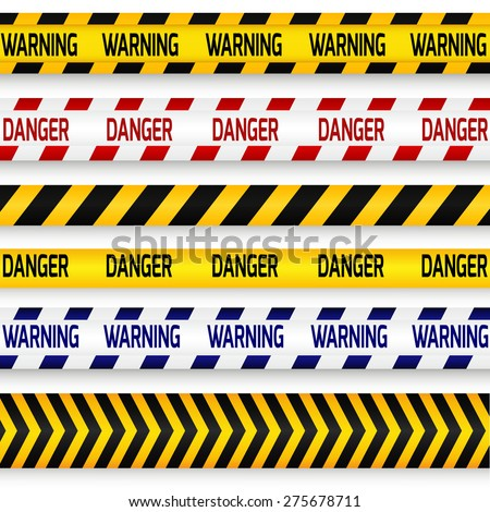 Yellow with black, red with white and blue with white police line, security warning, danger tapes set with text Warning and Danger. For web, criminal and law design. Vector illustration.