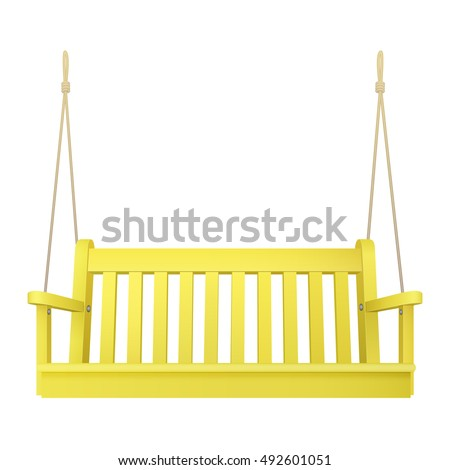 Yellow Wooden Classic Outdoor Hanging Patio Porch Swing Bench Furniture  With Ropes Isolated On White Background