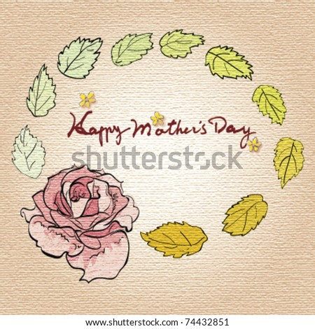 yellowed hand draw card for mother's day, vector - stock vector