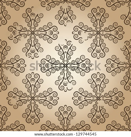 Yellowed wallpaper seamless texture with lace ornaments.eps 10. - stock vector