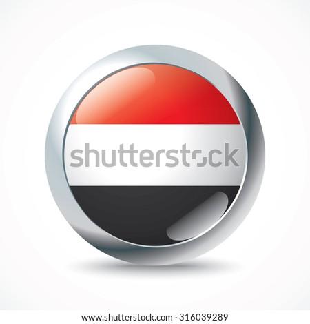 Yemen flag button - vector illustration - stock vector