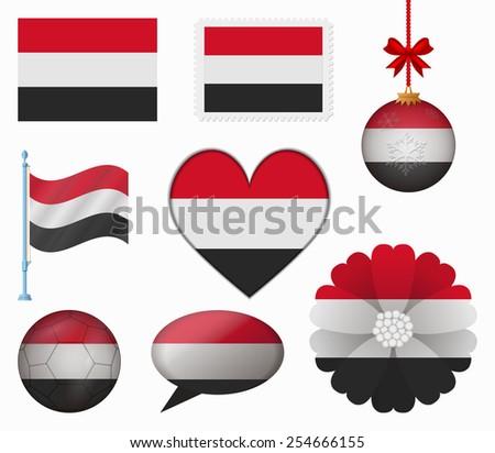 Yemen flag set of 8 items vector - stock vector