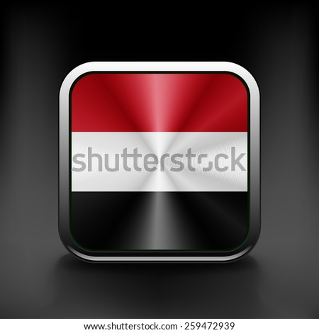 Yemen icon flag national travel icon country symbol button. - stock vector