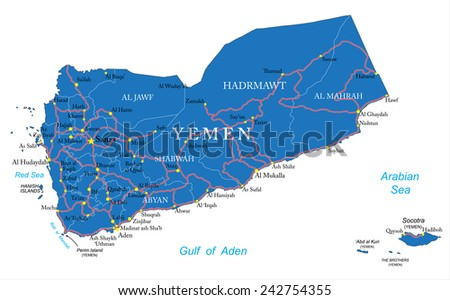 Yemen map - stock vector