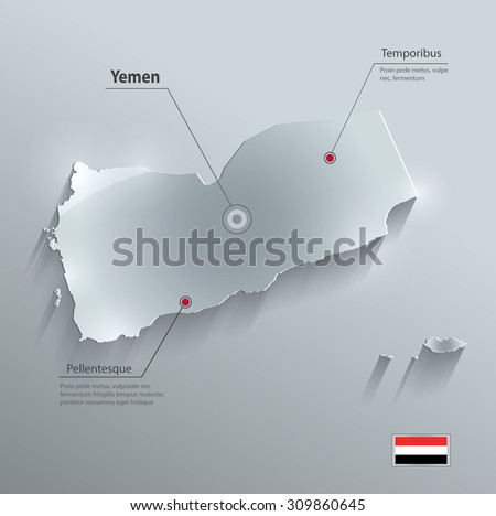 Yemen map flag glass card paper 3D vector - stock vector