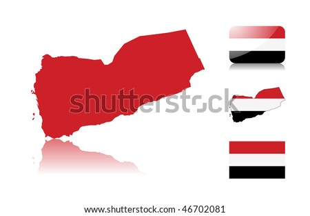 Yemen map including: map with reflection, map in flag colors, glossy and normal flag of Yemen . - stock vector