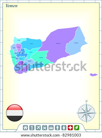 Yemen Map with Flag Buttons and Assistance & Activates Icons Original Illustration - stock vector