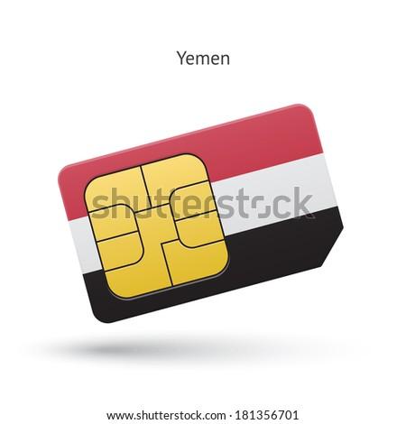 Yemen mobile phone sim card with flag. Vector illustration. - stock vector