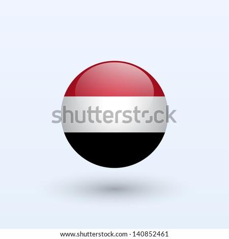 Yemen round flag. Vector illustration. - stock vector