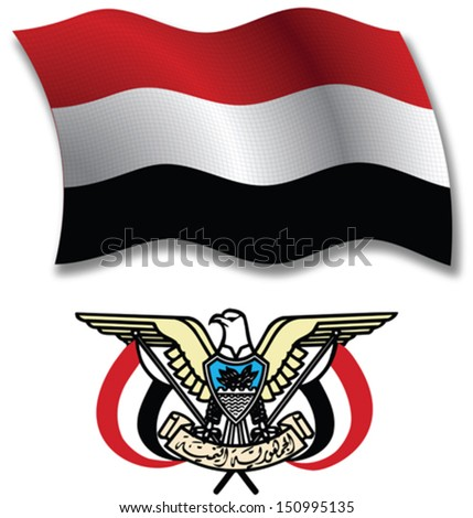 yemen shadowed textured wavy flag and coat of arms against white background, vector art illustration, image contains transparency transparency - stock vector