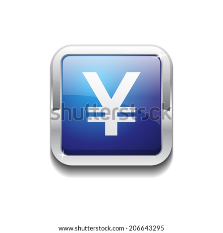 Yen Currency Sign Square Vector Blue Web Icon Button - stock vector
