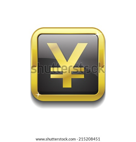 Yen Currency Sign Square Vector Golden Black Web Icon Button - stock vector