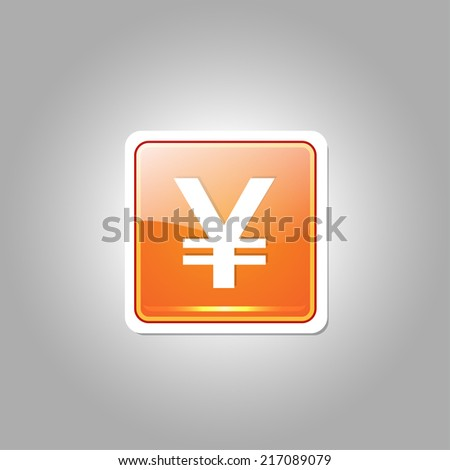 Yen Currency Sign Square Vector Orange Web Icon Button - stock vector