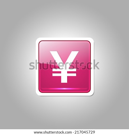 Yen Currency Sign Square Vector Pink Web Icon Button - stock vector
