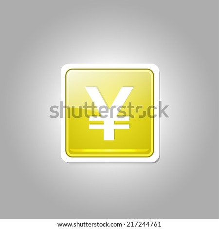 Yen Currency Sign Square Vector Yellow Web Icon Button - stock vector