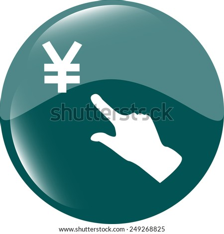 Yen currency symbol and people hand web button icon - stock vector
