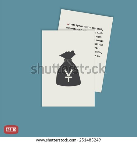 Yen currency symbol. Chinese currency. Money bag icon. Flat design style. Made in vector illustration - stock vector