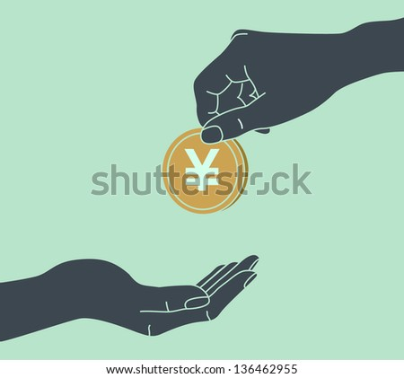 YEN. Hands Giving & Receiving Money - stock vector