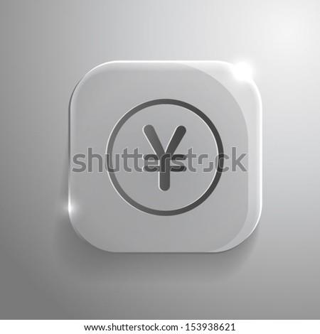 Yen Icon on gray glass Button. Vector Money Symbol. EPS10 - stock vector