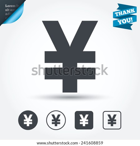Yen sign icon. JPY currency symbol. Money label. Circle and square buttons. Flat design set. Thank you ribbon. Vector - stock vector