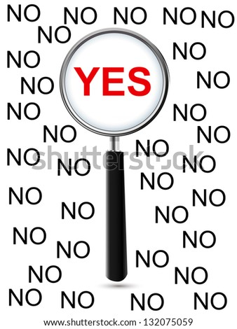 Yes and Magnifying Glass - stock vector