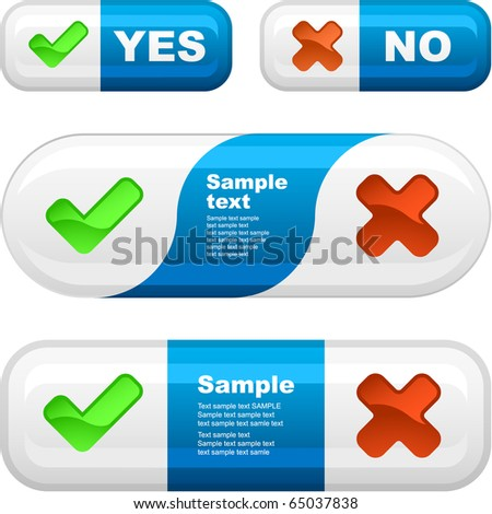 Yes and No button set. - stock vector