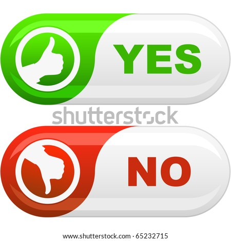 Yes and No button. Vector illustration. - stock vector