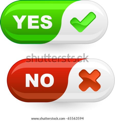 Yes and No buttons. - stock vector