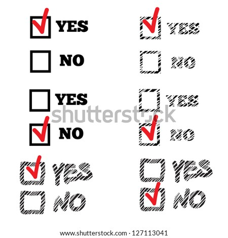 YES and NO Check Marks Stickers - stock vector