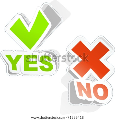 Yes and No icon. Vector sticker set. - stock vector
