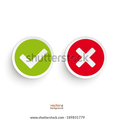 Yes and no round icons on the white background. Eps 10 vector file. - stock vector