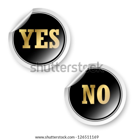 Yes and No stickers - stock vector