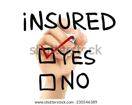 yes insured words written by hand on a transparent board
