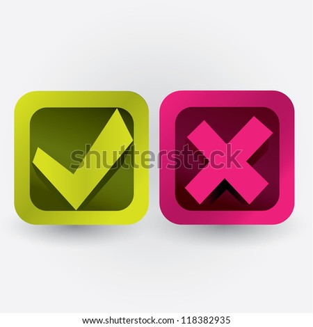 yes, no buttons - stock vector