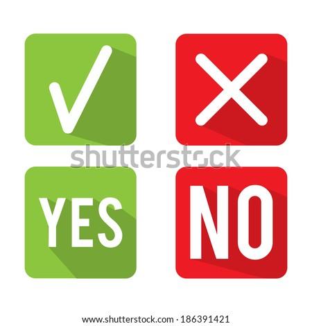 Yes No Check Box Vector - stock vector