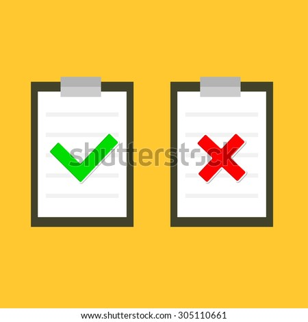 Yes No check mark sign on clipboard Lined paper notebook Flat design Vector illustration - stock vector