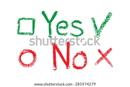 Yes No flags, drawing with chalk on a blackboard - stock vector