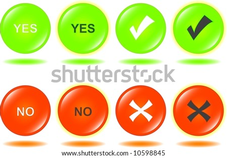 yes no glossy buttons set