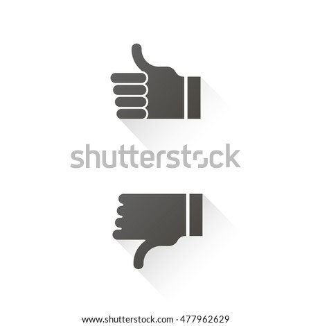 Yes, No, thumbs up and down grey flat icons; Hands gesture isolated; Like, dislike symbol vector