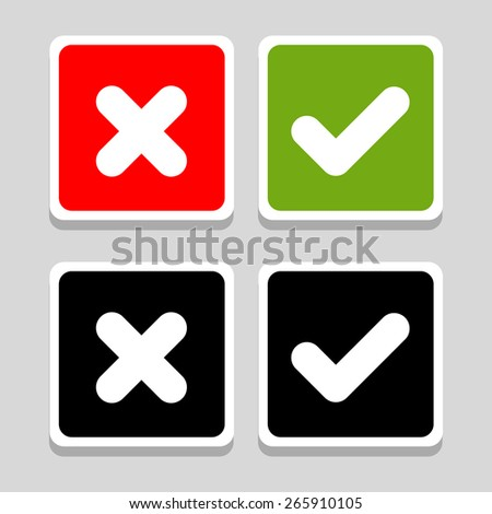 Yes, No, Thumbs up and down icons, vector illustration - stock vector