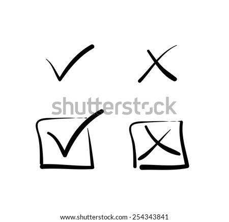 Yes no tick cross box signs vote test answer hand-drawn - stock vector