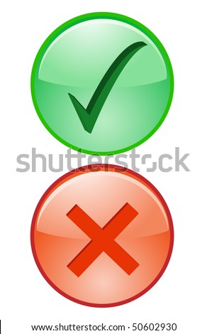 Yes No Tick Cross Right Wrong accept decline Icon - stock vector